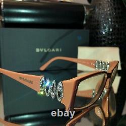 Bvlgari Eyeglasses Swarovski Crystal Limited Edition 4019-B Beige VERY RARE 2075