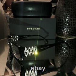Bvlgari Eyeglasses Swarovski Crystal Limited Edition 4019-B Black VERY RARE 2075