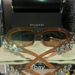 Bvlgari Sunglasses Swarovski Crystal Limited Edition 856-B Honey Brown VERY RARE
