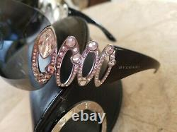 Bvlgari Sunglasses Swarovski Crystal Limited Edition Black EUC VERY RARE