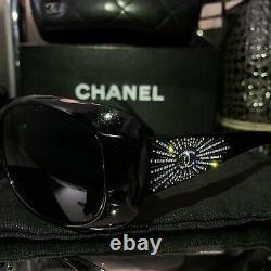 Chanel Sunglasses Black 6026-B Limited Edition Swarovski Crystal VERY RARE