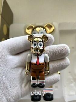Sponge Bob 400% 100% Gold Chrome Bearbrick Medicom Be@rbrick Very Rare Limited