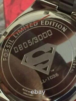 Fossil Superman Regarder Urban Red Ll1036 Edition Limitée Très Rare Navire Libre USA
