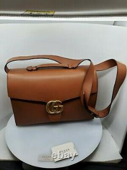 Gucci Homme Marmont Gg Brown /cognac Leather Briefcase, Limited, Very Rare New
