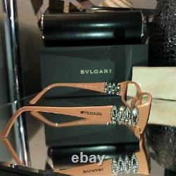 Lunettes Bvlgari Swarovski Crystal Limited Edition 4019-b Beige Très Rare 2075
