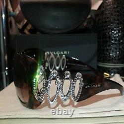 Lunettes De Soleil Bvlgari Swarovski Crystal Edition Limitée 8016-b Brown Very Rare