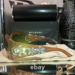 Lunettes De Soleil Bvlgari Swarovski Crystal Limited Edition 856-b Honey Brown Très Rare