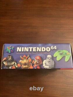 N64 Limited Edition Exteme Green Lime Neon Controller. Menthe Dans La Boîte. Très Rare