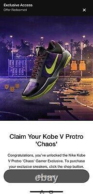 Nike Kobe 5 Protro Chaos 2k Gamer Exclusive Limited Edition Taille 14 Très Rare