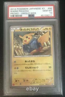 Psa 10 Gem Mint Warm Pikachu Promo Uniqlo Kids Xy Pokemon #96 Très Rare