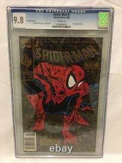 Spider-man #1 Cgc 9,8 Pages Blanches 1990 Upc Édition Or. Impression Limitée Très Rare