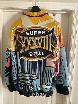 Très Rare Vintage Jeff Hamilton Super Bowl Veste En Cuir Limited XXXVIII