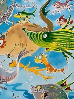 Une Multitude De Poissons Dr. Seuss Art (ted Geisel) Limited Edition Art Très Rare